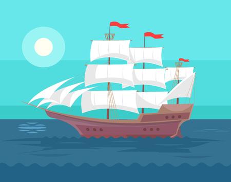 caravelle: Vieux bateau. Vector plate illustration de bande dessinée Illustration