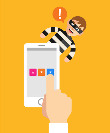 stealing: Stealing personal data. Vector flat illustration