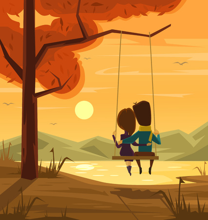 happy couple: Two lovers sitting on swing at sunset. Vector flat cartoon illustration