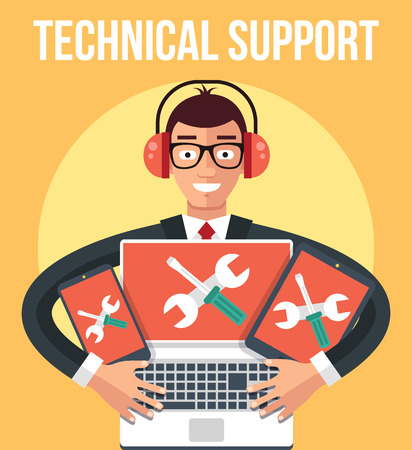 Technical support. Vector flat illustration