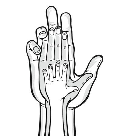 black family: Family hands. Vector black and white illustration