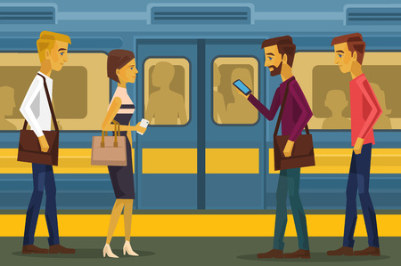 station: People in subway. Vector flat illustration