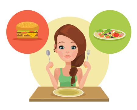 Useful and useless food. Vector flat illustration Illustration