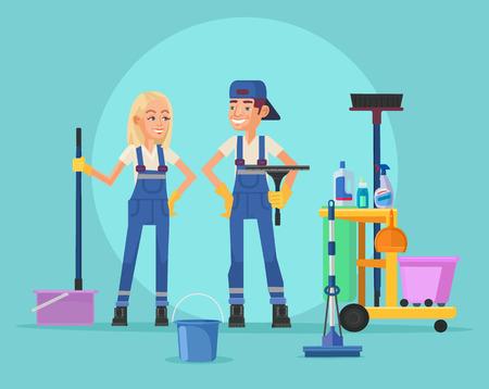 Cleaning staff. Vector flat illustration Illustration