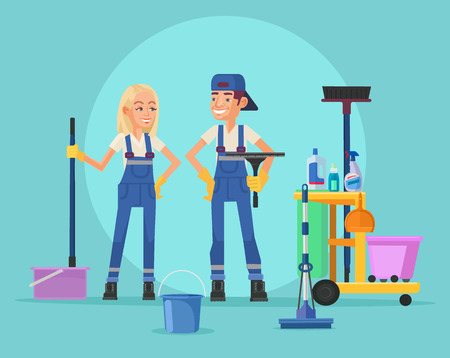 Cleaning staff. Vector flat illustration Stock Illustratie