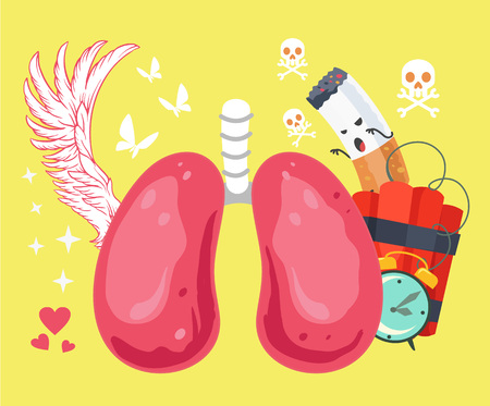 smoker: Lungs of a healthy person and smoker. Vector cartoon illustration