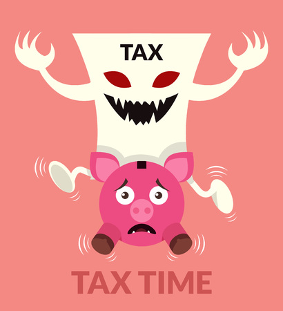 smashed paper: Tax time. Vector flat illustration