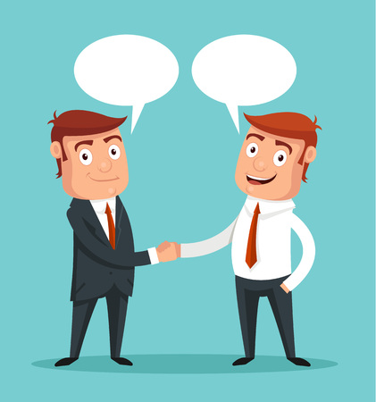 boss and employee: Businessman shaking hands. Vector flat illustration
