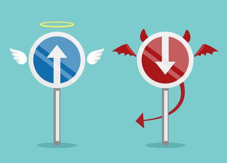 devil horns: Angel and devil symbol. Vector flat illustration