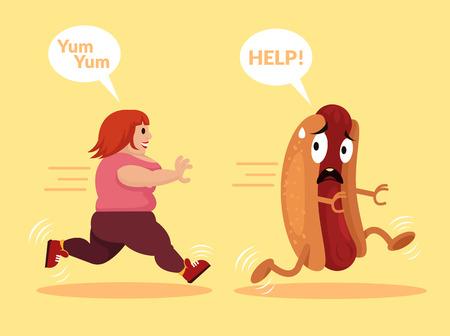 hungry: Fat girl is running. Vector flat cartoon illustration Illustration