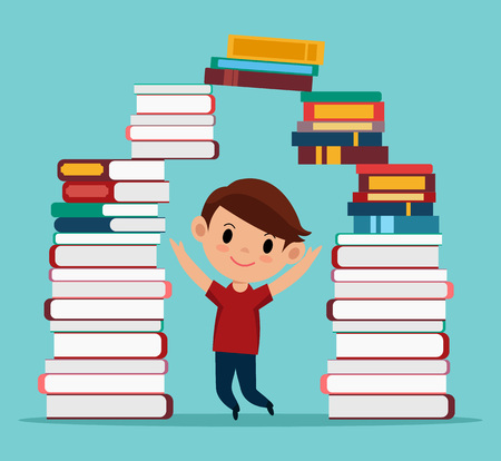 pre school: Boy in library. Vector cartoon flat illustration