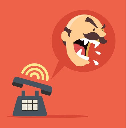 angry boss: Angry boss call. Vector flat illustration