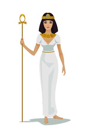 beautiful face: Egypt Queen Cleopatra. Vector flat illustration