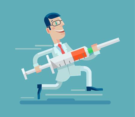 Doctor ejecuta con jeringa. Vector ilustración plana