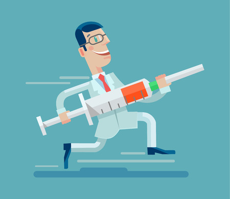 flu: Doctor run with syringe. Vector flat illustration