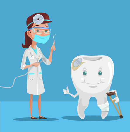 woman hygiene protection: Dentist and tooth. Vector flat illustration Illustration