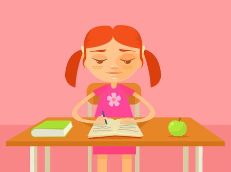 Girl do homework. Vector flat cartoon illustration