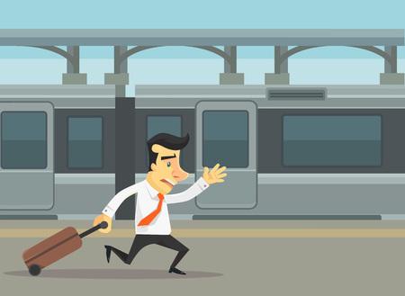 Les hommes d'affaires en cours d'exécution et a raté le train. Vector plate illustration de bande dessinée Vecteurs