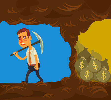 a cave: Never give up. Vector flat cartoon illustration
