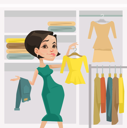 choosing clothes: Fashion girl. Vector flat illustration