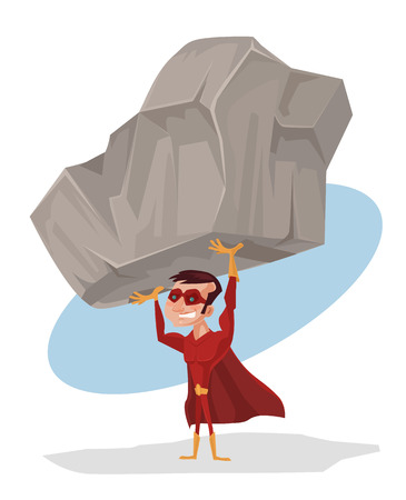beefy: Superhero holds rock. Vector flat cartoon illustration