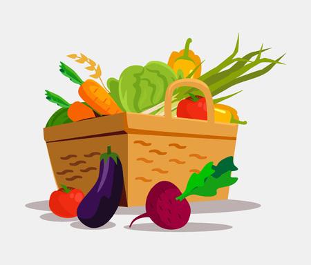 spinach salad: Basket with vegetables. Vector flat illustration Illustration