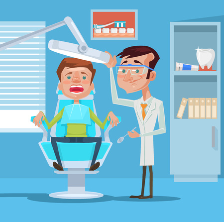 Dentist and patient. Vector flat illustration