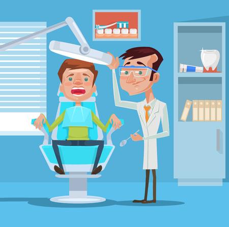 Dentista e paziente. Illustrazione piatto vettoriale