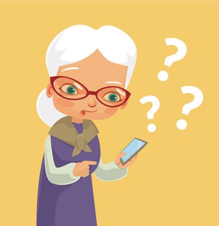 Oude vrouw en moderne telefoon. Vector flat cartoon illustratie