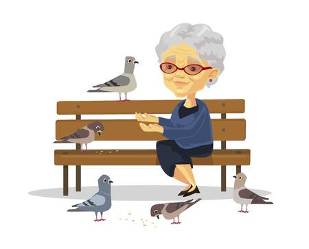 persona sentada: La mujer alimentando a las aves de edad. Vector ilustración plana