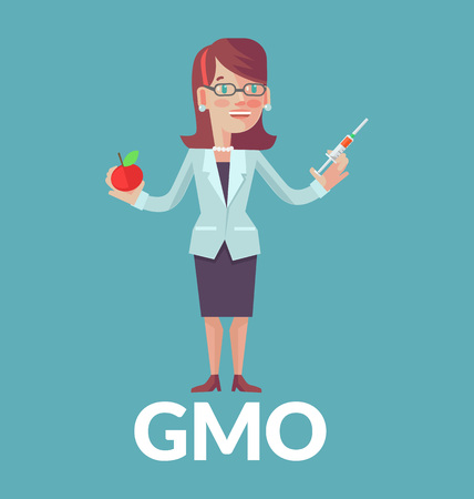 genetically modified organism: Genetically modified organism. Vector flat illustration
