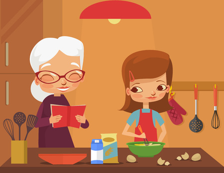 cook cartoon: Grandmother and granddaughter cook. Vector flat cartoon illustration Illustration