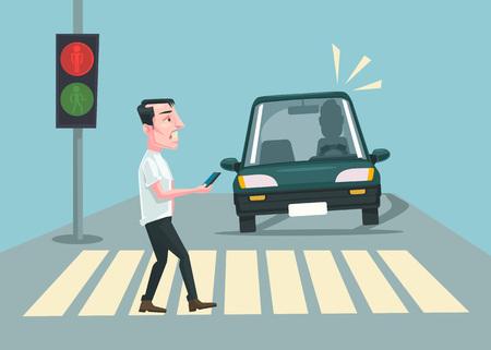 luz roja: accidente de peatones. Vector ilustración de dibujos animados plana