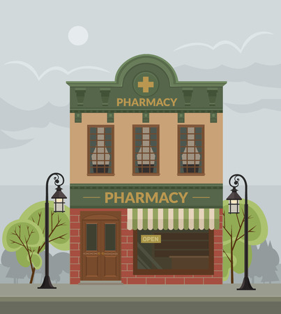 cross street with care: Pharmacy building. Vector flat illustration Illustration
