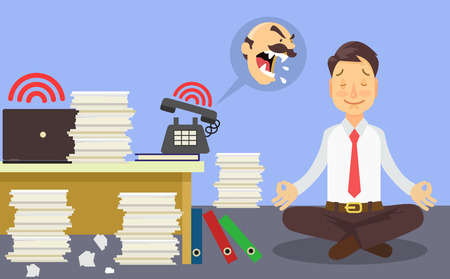 many: Relax at work. Vector flat cartoon illustration