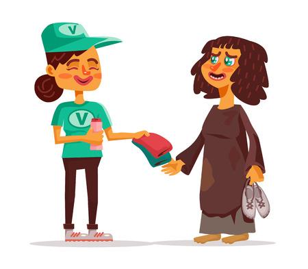 altruism: Voluntarios y personas sin hogar. Vector ilustración de dibujos animados plana