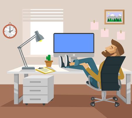 freelance: Freelance worker. Vector flat illustration