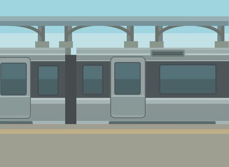Entraîner quai de la gare. Vector illustration plat Vecteurs