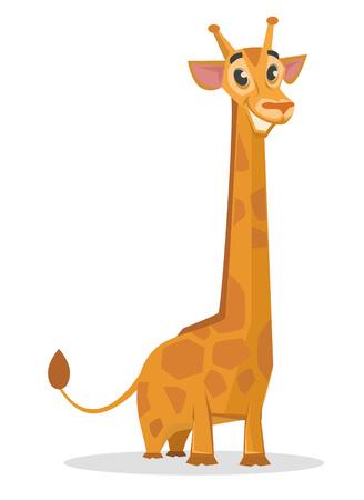 Happy cartoon giraffe. Vector flat illustration Illustration