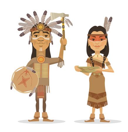 west: Native americans couple. Vector flat illustration Illustration