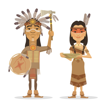 Native americans couple. Vector flat illustration Stock Illustratie