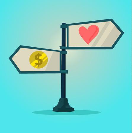 compare: Choice between love and money. Vector cartoon flat illustration Illustration