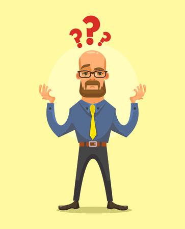 wondering: Business man thinking. Vector flat cartoon illustration