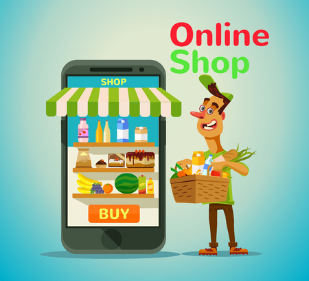 shop online: Online food shop. Vector flat illustration