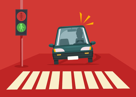 car driver: Pedestrian accident. Vector flat illustration Illustration