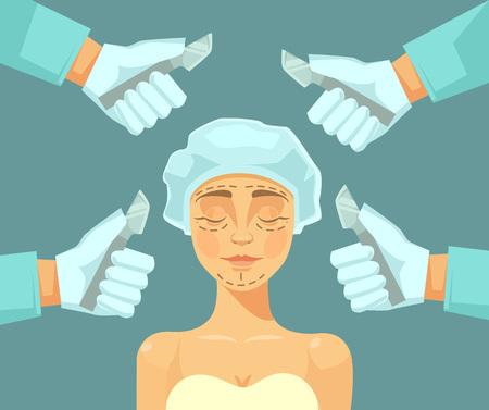 chirurgo: Chirurgia plastica. Vector piatta illustrazione