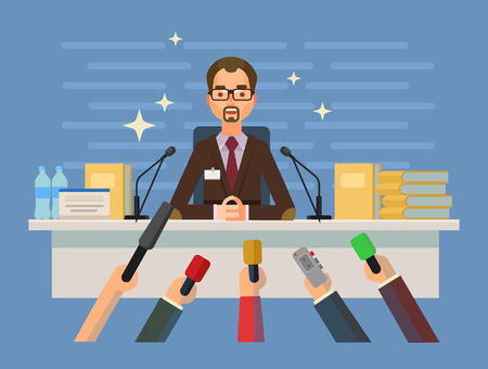 press conference: Press conference. Vector flat illustration Illustration