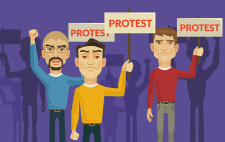 a group of people protesting: Demonstration and protest. Vector flat illustration
