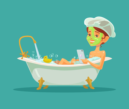 vector girl: Girl taking bath. Vector flat illustration