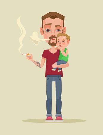 paternity: Smoking father. Vector flat illustration Illustration